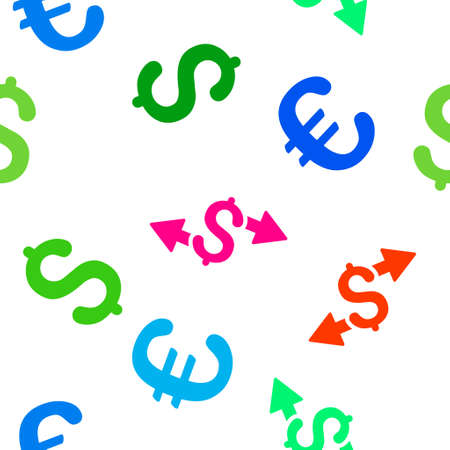 spend: Spend Money vector repeatable pattern with dollar and euro currency symbols. Style is flat colored icons on a white background.