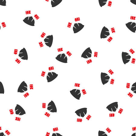 quake: Brick Helmet Accident vector seamless repeatable pattern. Style is flat red and dark gray brick helmet accident symbols on a white background. Illustration