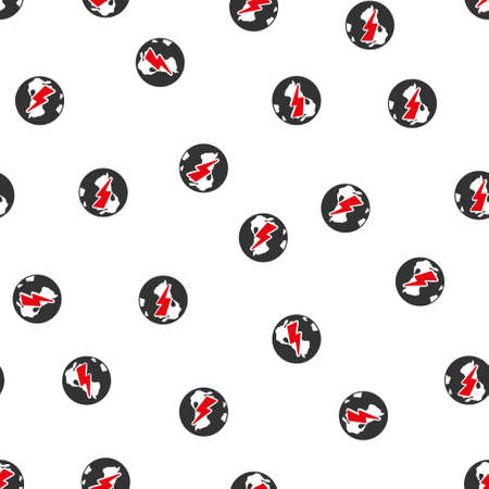 ecological damage: Earth Shock vector seamless repeatable pattern. Style is flat red and dark gray earth shock symbols on a white background.