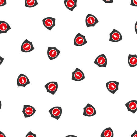 voltage gray: Electric Guard vector seamless repeatable pattern. Style is flat red and dark gray electric guard symbols on a white background. Illustration