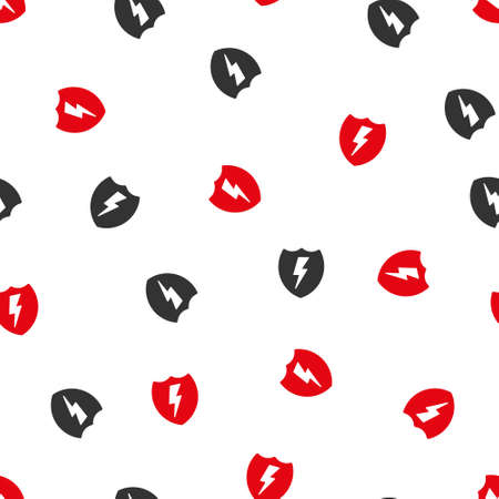 voltage gray: Electric Shield vector seamless repeatable pattern. Style is flat red and dark gray electric shield symbols on a white background.