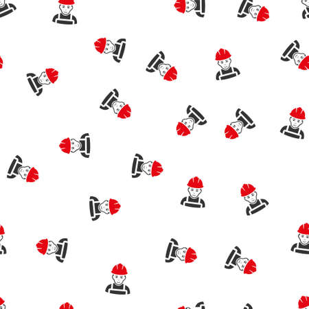glad: Glad Worker raster seamless repeatable pattern. Style is flat red and dark gray glad worker symbols on a white background.