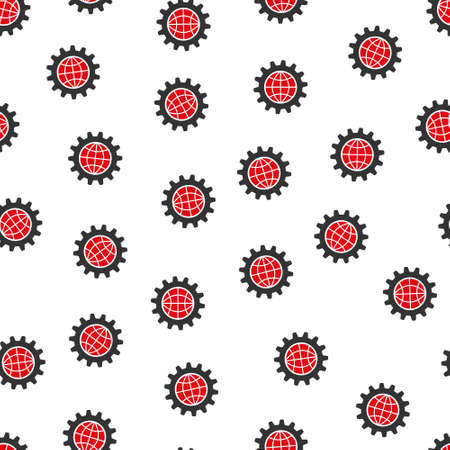 global settings: Global Options vector seamless repeatable pattern. Style is flat red and dark gray global options symbols on a white background.
