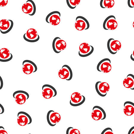 international network: International Network Circle vector seamless repeatable pattern. Style is flat red and dark gray international network circle symbols on a white background. Illustration