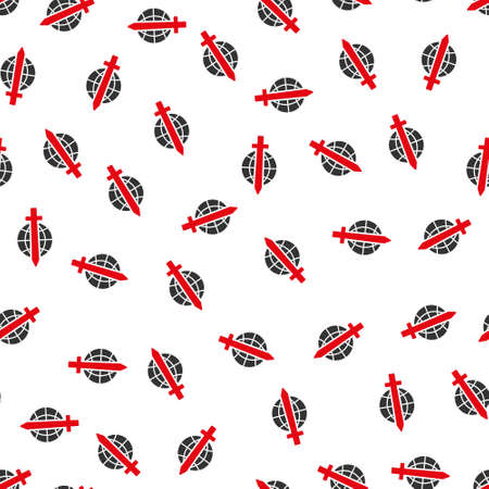 tyranny: Sword Globe vector seamless repeatable pattern. Style is flat red and dark gray sword globe symbols on a white background. Illustration