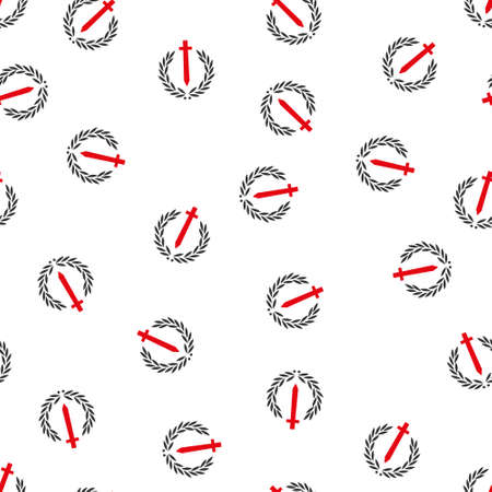 honour guard: Sword Honor Embleme vector seamless repeatable pattern. Style is flat red and dark gray Sword honor embleme symbols on a white background.