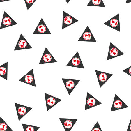 terra: Terra Triangle vector seamless repeatable pattern. Style is flat red and dark gray terra triangle symbols on a white background.