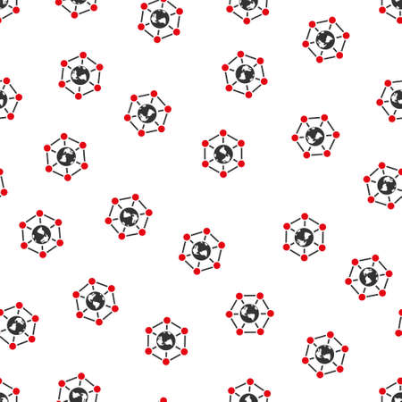 nodes: Worldwide Internet Nodes vector seamless repeatable pattern. Style is flat red and dark gray Worldwide internet nodes symbols on a white background.
