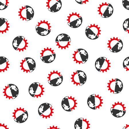 config: International Industry raster seamless repeatable pattern. Style is flat red and dark gray international industry symbols on a white background.