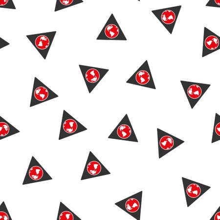 terra: Terra Triangle raster seamless repeatable pattern. Style is flat red and dark gray terra triangle symbols on a white background. Stock Photo