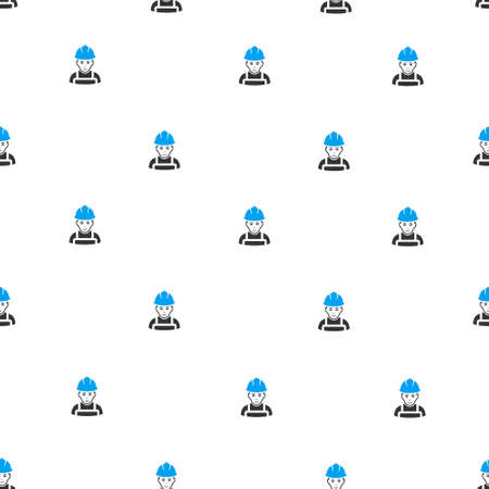 glad: Glad Worker raster seamless repeatable pattern. Style is flat blue and dark gray glad worker symbols on a white background.