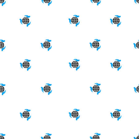 protection hands: Global Protection Hands raster seamless repeatable pattern. Style is flat blue and dark gray global protection hands symbols on a white background.