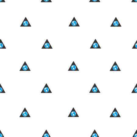 terra: Terra Triangle raster seamless repeatable pattern. Style is flat blue and dark gray terra triangle symbols on a white background.