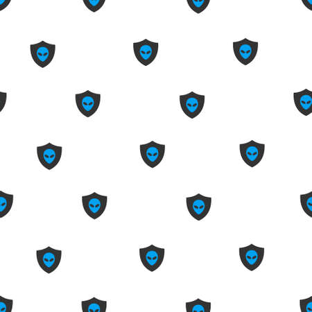 honour guard: Aliens Protection Shield vector seamless repeatable pattern. Style is flat blue and dark gray aliens protection shield symbols on a white background.