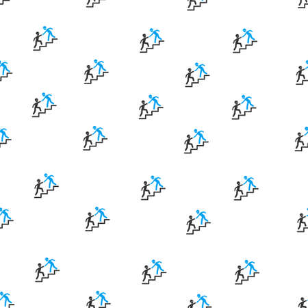 business help: Builder Business Help vector seamless repeatable pattern. Style is flat blue and dark gray Builder business help symbols on a white background.