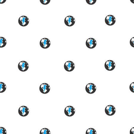 ecological damage: Earth Shock vector seamless repeatable pattern. Style is flat blue and dark gray earth shock symbols on a white background. Illustration