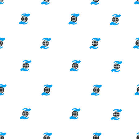 surety: Global Insurance Hands vector seamless repeatable pattern. Style is flat blue and dark gray global insurance hands symbols on a white background.