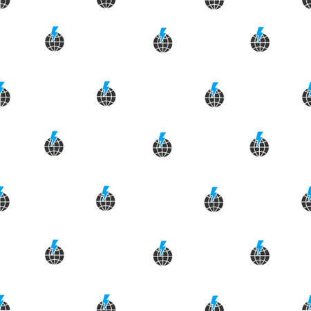 storm damage: Global Shock vector seamless repeatable pattern. Style is flat blue and dark gray global shock symbols on a white background. Illustration