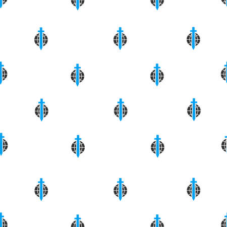 tyranny: Sword Globe vector seamless repeatable pattern. Style is flat blue and dark gray sword globe symbols on a white background.