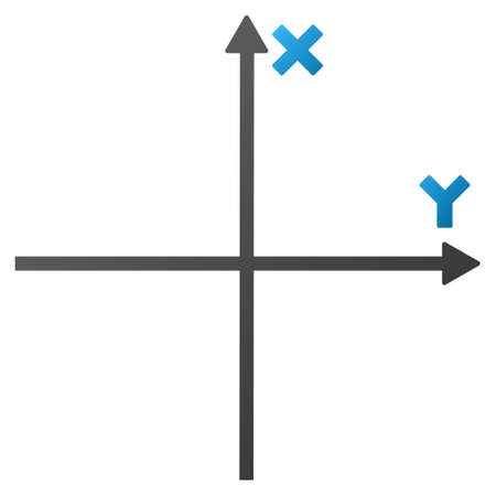x axis: Coordinate Axis vector toolbar icon. Style is gradient icon symbol on a white background.