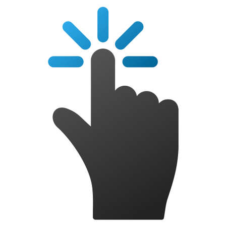 vote here: Finger Click vector toolbar icon. Style is gradient icon symbol on a white background.