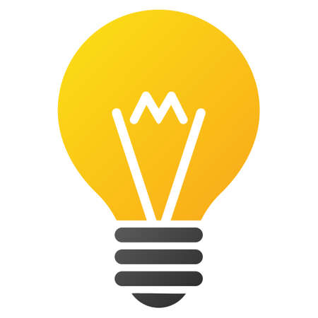 hint: Hint Bulb vector toolbar icon. Style is gradient icon symbol on a white background. Illustration