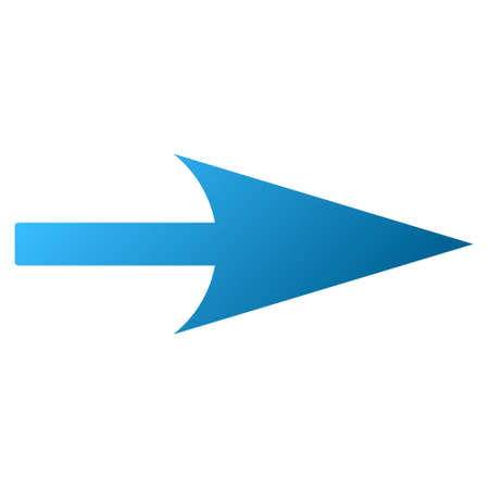 propel: Sharp Right Arrow raster toolbar icon for software design. Style is gradient icon symbol on a white background. Stock Photo