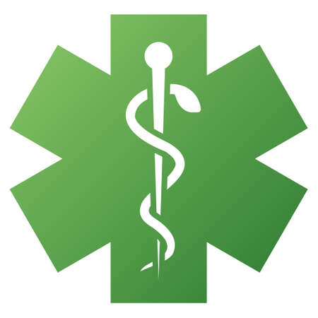 star of life: Medical Life Star vector toolbar icon for software design. Style is gradient icon symbol on a white background.
