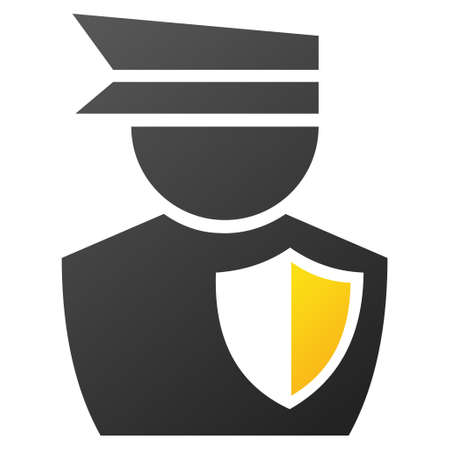bobby: Policeman vector toolbar icon for software design. Style is gradient icon symbol on a white background. Illustration