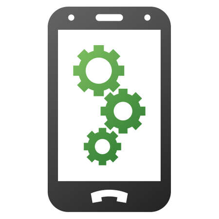 Smartphone Gears vector toolbar icon for software design. Style is gradient icon symbol on a white background.