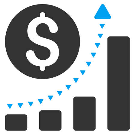 takings: Business Bar Chart Positive Trend vector icon. Business Bar Chart Positive Trend icon symbol. Business Bar Chart Positive Trend icon image. Business Bar Chart Positive Trend icon picture.