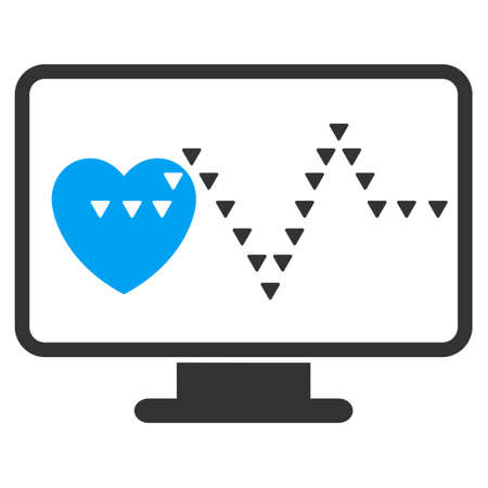 cardio: Cardio Monitoring vector icon. Cardio Monitoring icon symbol. Cardio Monitoring icon image. Cardio Monitoring icon picture. Cardio Monitoring pictogram. Flat blue and gray cardio monitoring icon.
