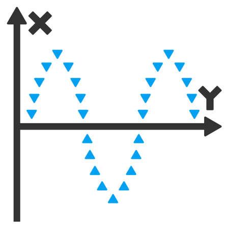 oscillations: Dotted Sinusoid Plot vector icon. Dotted Sinusoid Plot icon symbol. Dotted Sinusoid Plot icon image. Dotted Sinusoid Plot icon picture. Dotted Sinusoid Plot pictogram.