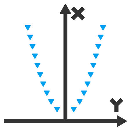 parabola: Dotted Parabola Plot vector icon. Dotted Parabola Plot icon symbol. Dotted Parabola Plot icon image. Dotted Parabola Plot icon picture. Dotted Parabola Plot pictogram. Illustration