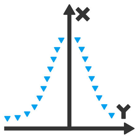 and plot: Dotted Gauss Plot raster icon. Dotted Gauss Plot icon symbol. Dotted Gauss Plot icon image. Dotted Gauss Plot icon picture. Dotted Gauss Plot pictogram. Flat blue and gray dotted gauss plot icon. Stock Photo