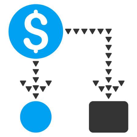 cashflow: Cashflow Scheme vector icon. Cashflow Scheme icon symbol. Cashflow Scheme icon image. Cashflow Scheme icon picture. Cashflow Scheme pictogram. Flat blue and gray cashflow scheme icon.