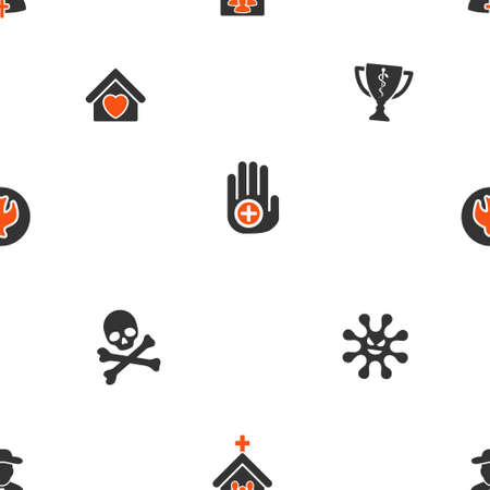 adept: Soul and Death vector repeatable pattern. Style is flat orange and gray icon symbols on a white background.