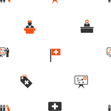 governor: Medical Strategy vector repeatable pattern. Style is flat orange and gray icon symbols on a white background.