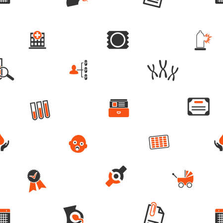 preservative: Child Hospital vector repeatable pattern. Style is flat orange and gray icon symbols on a white background.