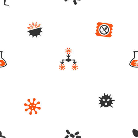 awful: Microbes vector repeatable pattern. Style is flat orange and gray icon symbols on a white background. Illustration