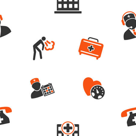 polyclinic: Hospital vector repeatable pattern. Style is flat orange and gray icon symbols on a white background.