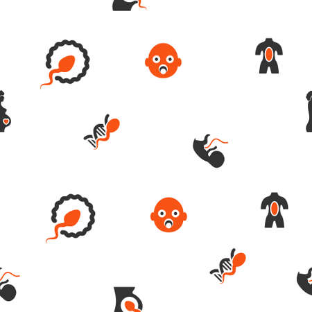 babycare: Pregnancy vector repeatable pattern. Style is flat orange and gray icon symbols on a white background.