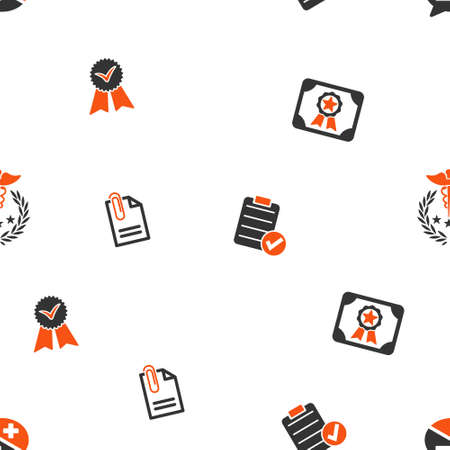 certification: Certification vector repeatable pattern. Style is flat orange and gray icon symbols on a white background.