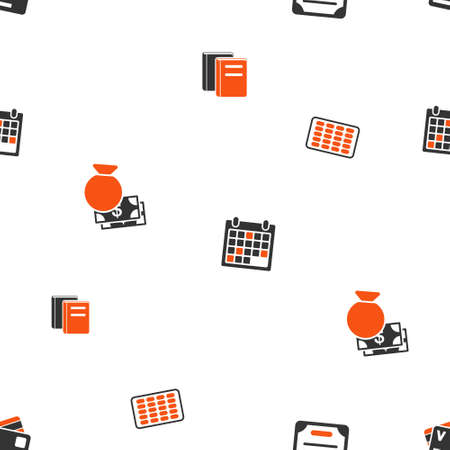 appointment book: Accounting Schedule vector repeatable pattern. Style is flat orange and gray icon symbols on a white background.