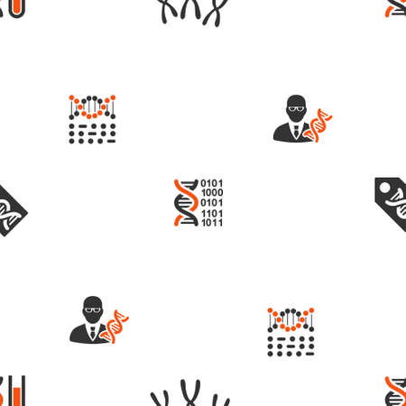 biotech: Genetic Science vector repeatable pattern. Style is flat orange and gray icon symbols on a white background.