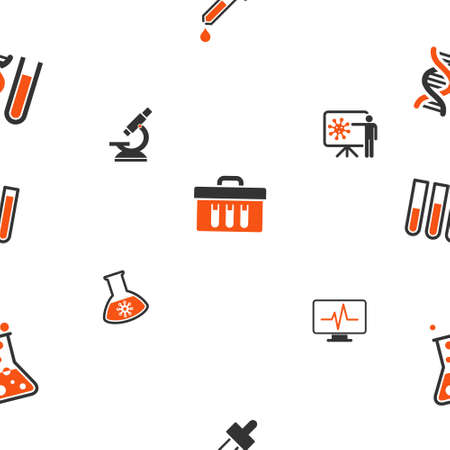 retort: Chemical Labs glyph repeatable pattern. Style is flat orange and gray icon symbols on a white background.