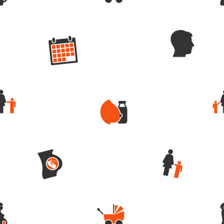 babycare: Childhood glyph repeatable pattern. Style is flat orange and gray icon symbols on a white background.