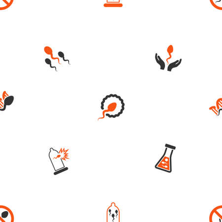 ovule: Sperm glyph repeatable pattern. Style is flat orange and gray icon symbols on a white background.
