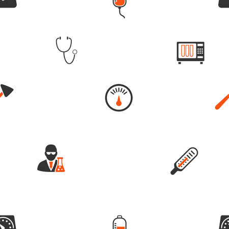 parameter: Medical Gadgets glyph repeatable pattern. Style is flat orange and gray icon symbols on a white background. Stock Photo