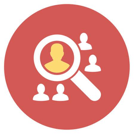 pacjent: Przeglądaj pacjenci ikonę glifów. Styl Obraz jest płaski ikona światło symbol na okrągły czerwony przycisk. Przeglądaj pacjenci symbol.
